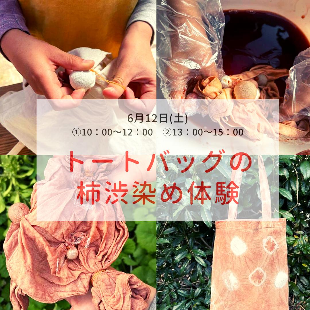 トートバッグの柿渋染め体験